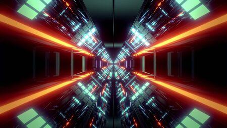 futuristic science-fiction tunnel corridor 3d illustration background wallpaper Banco de Imagens