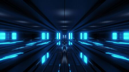 clean style black tunnel corridor background with blue glow background 3d rendering