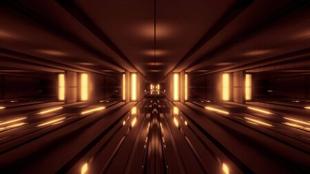 clean style black tunnel corridor background with golden glow background 3d rendering