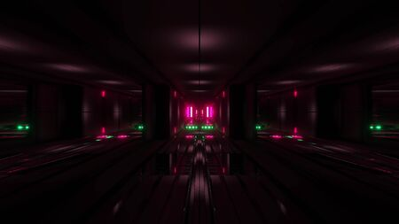 clean style black tunnel corridor background with red glow background 3d rendering