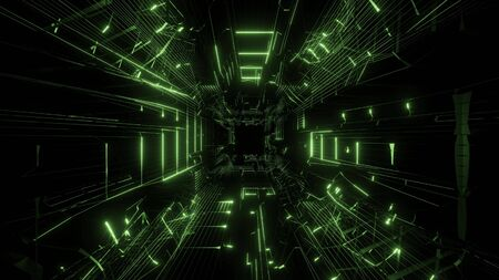 green wireframe design with nice reflection 3d rendering background wallpaper Foto de archivo - 129157070