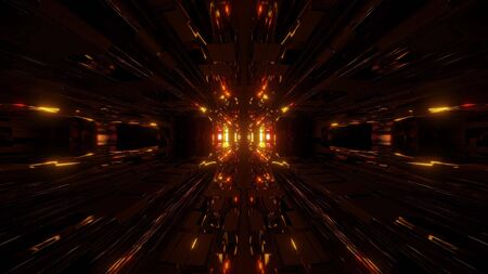 beautiful futuristic scifi space ship tunnel background 3d illustration 3d rendering Stock Photo