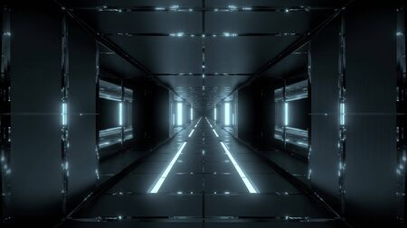 futuristic space sci-fi tunnel with hot metal 3d rendering wallpaper backgrounds Stock Photo - 129479608