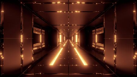 futuristic space sci-fi tunnel with hot metal 3d rendering wallpaper backgrounds Stock Photo