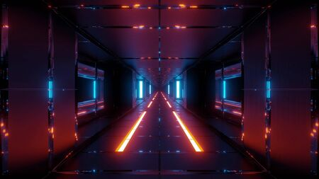 futuristic space sci-fi tunnel with hot metal 3d rendering wallpaper backgrounds Stock Photo - 129479617