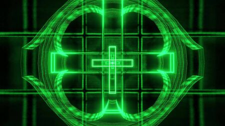 green glowing holy christian cross 3d rendering background wallpaper, christian church symbol 3d killustration