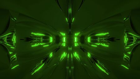 futuristic green alien style space ship tunnel corridor 3d rendering wallpaper background Stock fotó