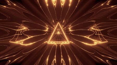 golden glowing fantasy triangle wireframe design with reflective background wallpapaper 3d illustration, holy glowing triangle 3d rendering art Stock fotó