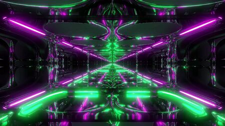 futuristic sci-fi fantasy alien tunnel with energetic reflection 3d illustration wallpaper background Zdjęcie Seryjne