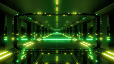 dark futuristic sci-fi glass tunnel 3d illustration background wallpaper Stock Photo