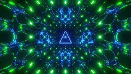 glowing triangle wireframe design 3d illustration background wallpaper,