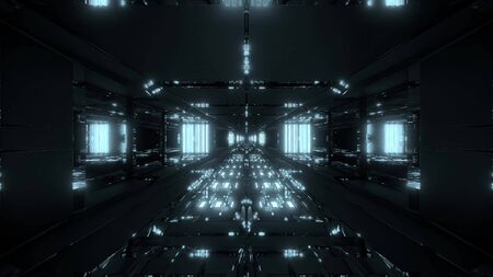 futuristic glowing scifi tunnel corridor with nice reflection 3d rendering wallpaper background Banco de Imagens