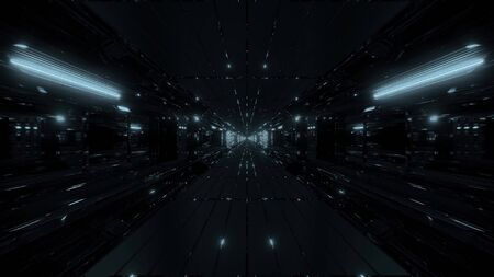 highly abstract futuristic glowing scifi tunnel corridor with many nice reflections 3d rendering wallpaper background