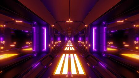 futuristic glowing scifi data tunnel corridor with nice reflections 3d rendering wallpaper background