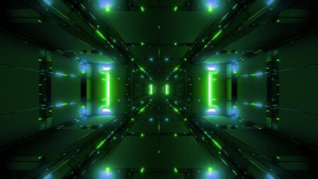 abstract futuristic glowing scifi tunnel corridor with cool reflection 3d rendering wallpaper background