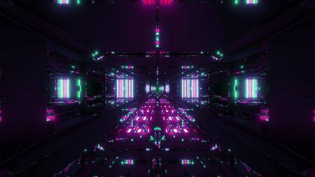 futuristic glowing scifi tunnel corridor with nice reflection 3d rendering wallpaper background 版權商用圖片