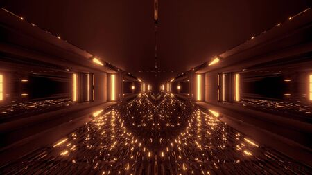 futuristic glowing scifi tunnel corridor with many nice reflections 3d rendering wallpaper background