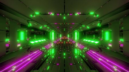 futuristic sci-fi space ship air hangar tunnel with glass windows 3d rendering background wallpaper Stock fotó