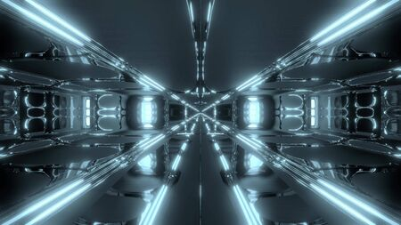 futuristic scifi hangar temple 3d illustration wallpaper background Stock fotó