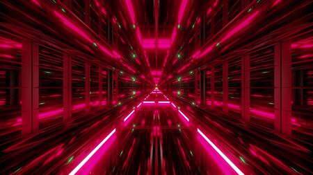 futuristic scifi glass tunnel with nice reflections 3d illustration wallpaper background