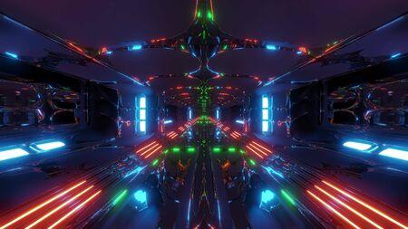 futuristic scifi alien tunnel building 3d rendering wallpaper background