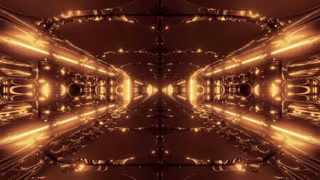 futuristic scifi alien space tunnel building 3d rendering wallpaper background, Stock fotó