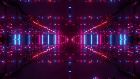 futuristic scifi temple tunnel corridor 3d illustration wallpaper background Stock fotó
