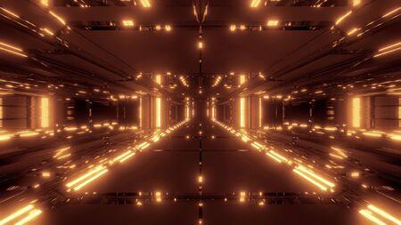 futuristic scifi tunnel corridor 3d illustration wallpaper background