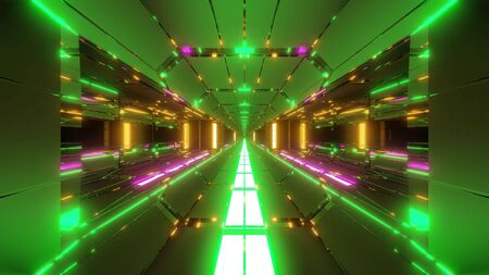 futuristic scifi tunnel corridor with nice glowing lights 3d illustration wallpaper background, future modern building 3d rendering with hot metal
