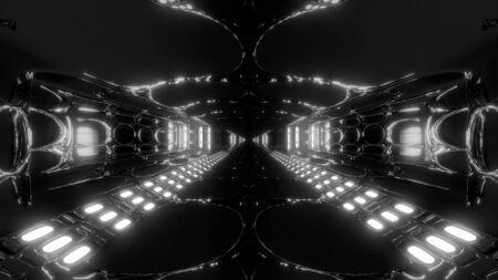 futuristic scifi tunnel corridor 3d illustration wallpaper background, future modern building 3d rendering