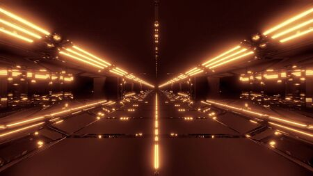 futuristic scifi tunnel corridor with light strokes and reflections 3d rendering background wallpaper Stok Fotoğraf