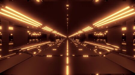 futuristic scifi tunnel corridor with light strokes and reflections 3d rendering background wallpaper, endless future building with glowig lamps 3d illustration Banco de Imagens