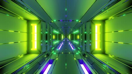 futuristic space hangar tunnel corridor with hot metal steal 3d rendering wallpaper background, modern air hangar 3d illustration