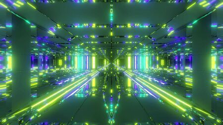 futuristic space temple tunnel corridor with cool reflections and glass bottom 3d rendering wallpaper background, futuristic religion church building 3d illustration design