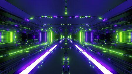 endless futuristic scifi science-fiction space tunnel corridor space hangar 3d illustration background wallpaper with hot metal, future sci-fi building 3d rendering Banco de Imagens
