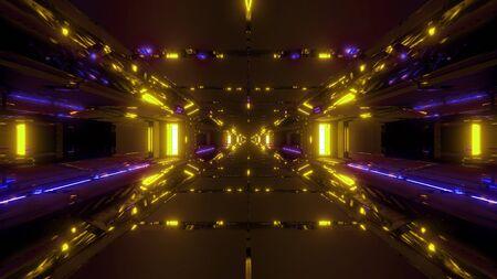 futuristic sci-fi space hangar 3d illustration wallpaper background