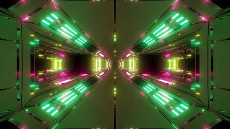 futuristic high reflective sci-fi space tunnel corridor 3d illustration wallpaper background glowing lights ,future building 3d rendering architecture design