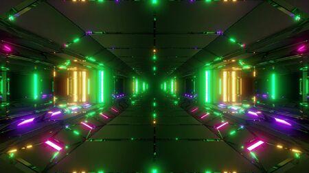 futuristic sci-fi space tunnel corridor hangar 3d illustration wallpaper background
