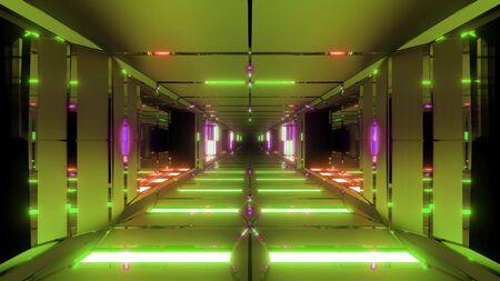 clean futuristic metal sci-fi space tunnel corridor 3d illustration wallpaper background