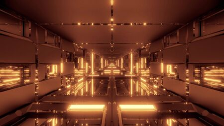 clean futuristic scifi space tunnel corridor with glass windows and bottom 3d illustration wallpaper background design Imagens