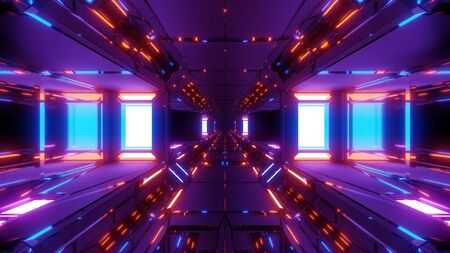 futuristic scifi space hangar tunnel corridor with nice reflection and glass in bottom 3d illustration wallpaper background design
