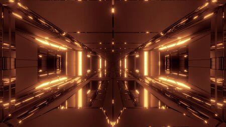 futuristic scifi space hangar tunnel corridor with glass bottom and windows 3d illustration wallpaper background design Imagens