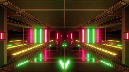 clean futuristic scifi space hangar tunnel corridor with glass windows 3d illustration background wallpaper design Imagens