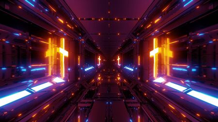 cool futuristic space scifi hangar tunnel corridor with holy glowing christian cross 3d illustration live wallpaper motion background design vj loop club visual