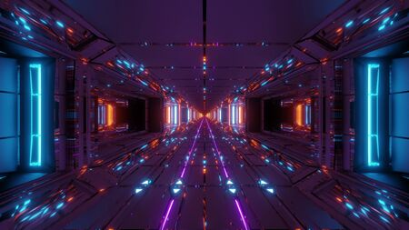 cool futuristic space scifi hangar tunnel corridor with nice reflections 3d illustration wallpaper background design, cool future sci-fi building 3d rendering art Zdjęcie Seryjne
