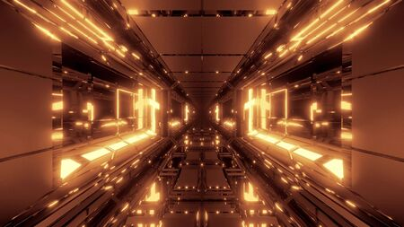 cool futuristic space scifi hangar tunnel corridor with holy glowing christian cross 3d illustration wallpaper background design