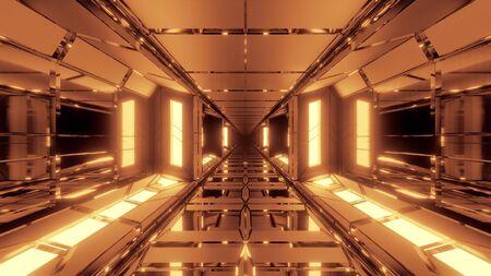 unique high contrast futuristic space scifi hangar tunnel corridor 3d illustration wallpaper background design