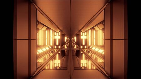 clean futuristic scifi fantasy space hangar tunnel corridor with holy christian glowing cross and glass bottom 3d illustration wallpaper background