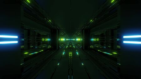 clean futuristic scifi fantasy space hangar tunnel corridor with nice reflections 3d illustration wallpaper background, future sci-fi building room with cool reflections rendering design 写真素材
