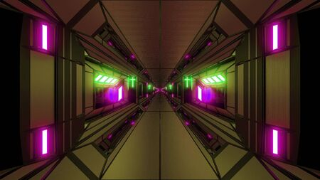futuristic scifi fantasy space hangar tunnel corridor with holy christian glowing cross 3d illustration wallpaper background, future sci-fi building room with religion christus symbol 3d rendering des